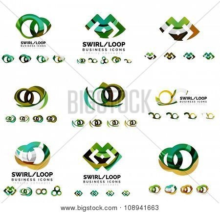 Set of company logotype branding designs, swirl infinity loop concept