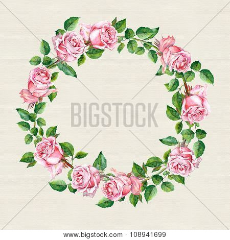 Rose flower wreath. Floral circle border on paper texture. Water color