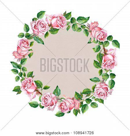 Rose flower wreath. Floral circle border. Watercolour