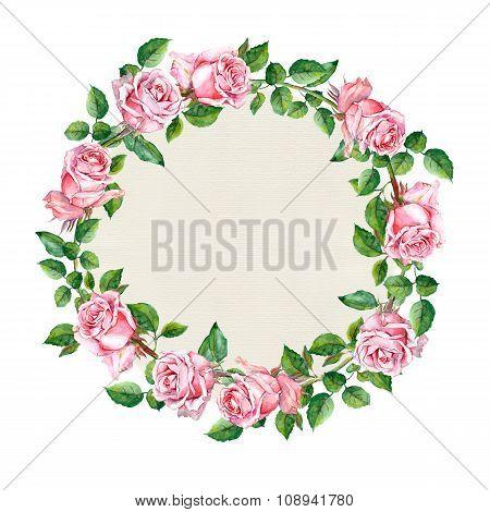 Rose flower wreath. Floral circle border. Watercolor