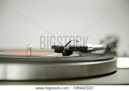 Vintage Record Player Shot With Wide Aperture And Focus On Cartridge