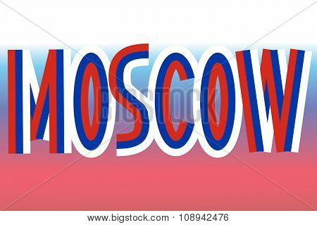 Moscow inscription made from russian flags
