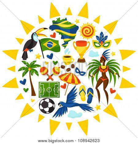 Brazil background with stylized objects and cultural symbols