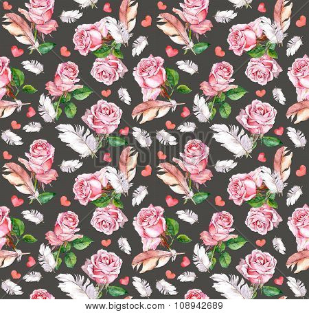 Rose flowers, feathers and hearts. Repeating floral pattern. Watercolor
