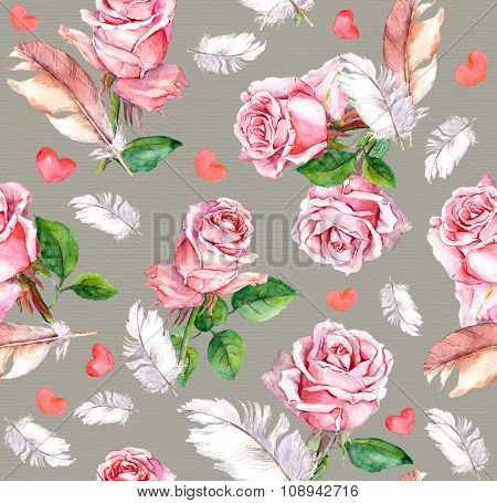Rose flowers, feathers and hearts. Repeating floral vintage pattern. Retro