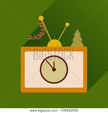 flat icon with long shadow Christmas TV