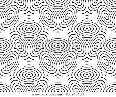 Graphic Seamless Abstract Pattern, Regular Geometric Black And White 3D Background. Contrast Ornamen