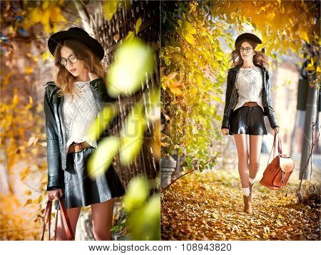 Attractive young woman in an autumnal shot outdoors. Beautiful fashionable school girl