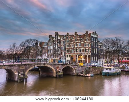 Canal Houses Sunset Amsterdam