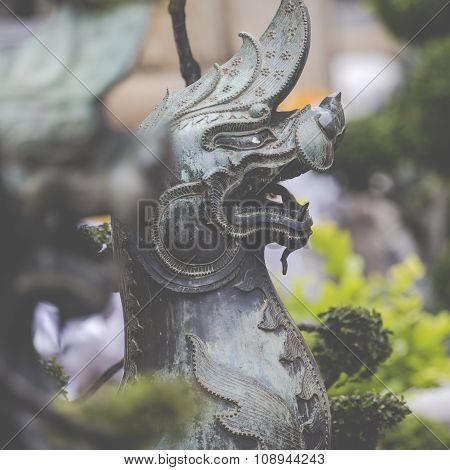 Lion Guardian At Wat Pho (pho Temple) In Bangkok