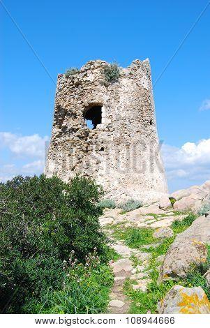 Detail Of Porto Giunco Tower In Villasimius (sardinia)