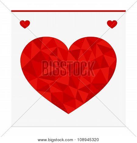 Geometric shape from triangles. Heart