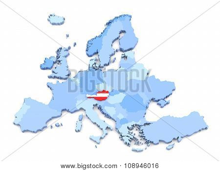 Europe Map, Austria With Flag