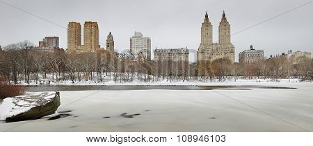 Frozen Central Park Lake With Manhattan Upper West Side Skyline