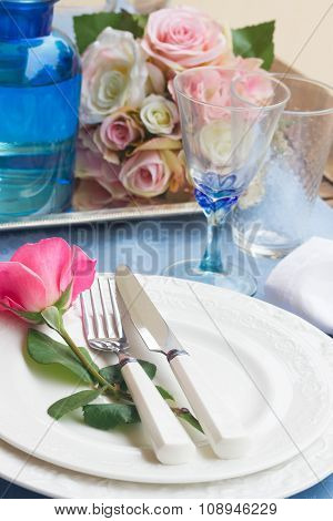 Tableware set for valentines day