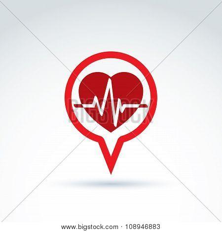 Cardiology Cardiogram Heart Beat Icon, Vector Conceptual Special Icon For Your Design.