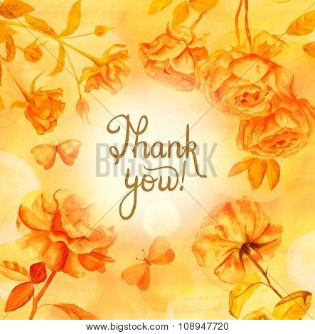 Golden Calligraphic 'thank You' Card With Roses And Butterflies