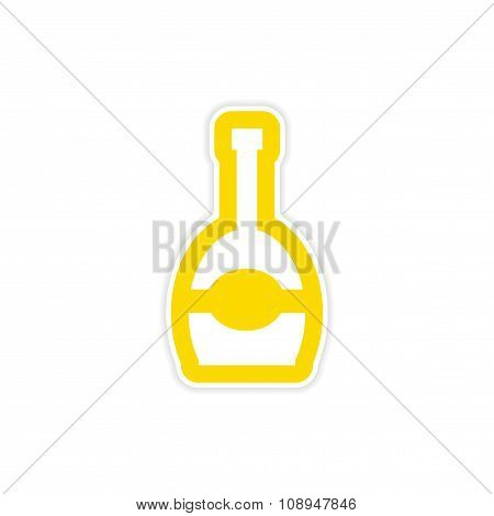 paper sticker on white background bottle of champagne