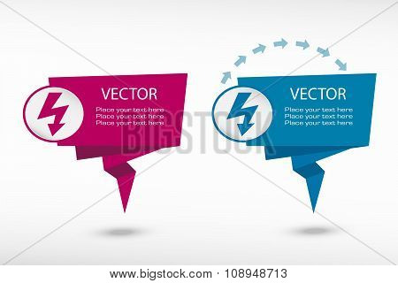 Lightning Icon On Origami Paper Speech Bubble Or Web Banner, Prints