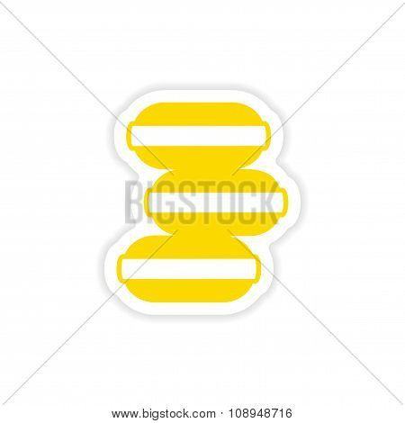 icon sticker realistic design on paper ice Cream cookies