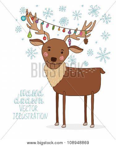 Deer with a garland