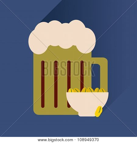 flat icon with long shadow glass of beer and peanuts