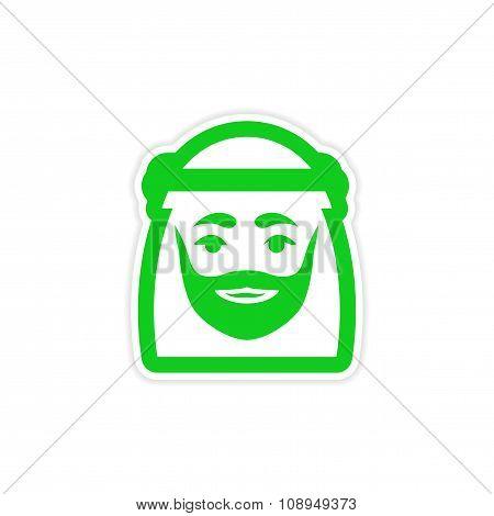 stylish paper sticker on white background Arab men