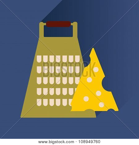 flat icon with long shadow Grater and cheese