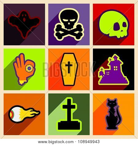 Flat with shadow concept and mobile application halloween icons