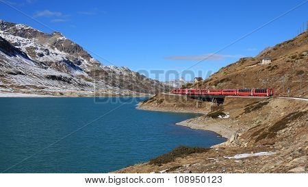 Train Crossing The Bernina Mountain Pass