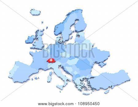 Europe Map, Switzerland With Flag