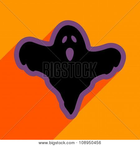 Flat with shadow icon and mobile application ghost