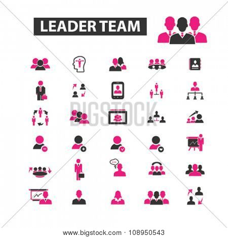 leader team, management, human resources, avatar, community  icons, signs vector concept set for infographics, mobile, website, application