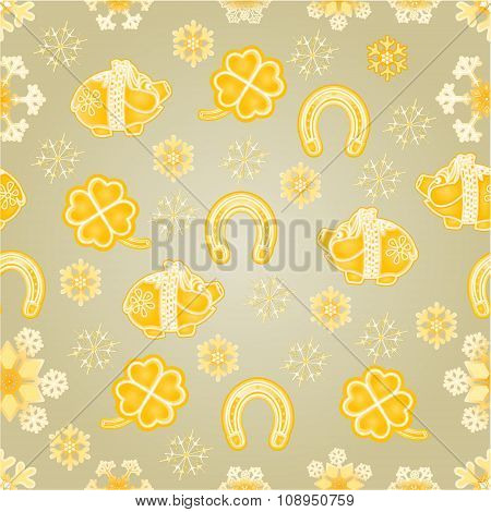 Seamless Texture Symbols For Luck Gold Background Vector