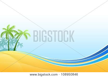 Abstract background sea coast palms blue yellow vector