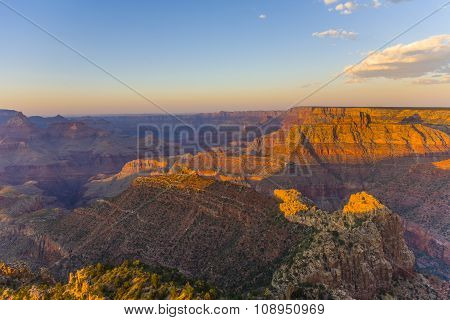 Golden Rocks Of The Grand Canyon In Sunset