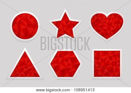 Geometric shape from triangles. Set of red labels