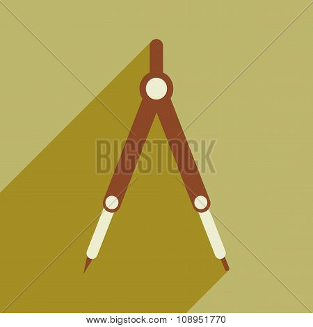 Flat with shadow icon and mobile application Compasses Mathematics