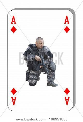 The ace of diamonds in the fight. Special unit to fight terrorists. Cards are dealt on the table.
