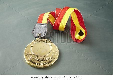 medal or award on the blackboard