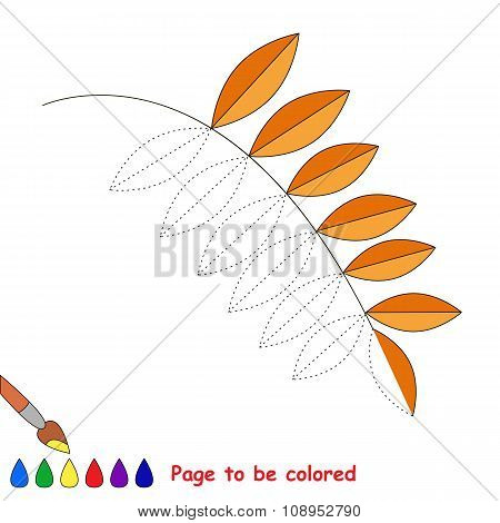 Vector cartoon ash leaf to be colored.