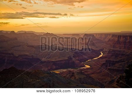 Sunset At The Grand Canyon Seen From Desert View Point, South Rim
