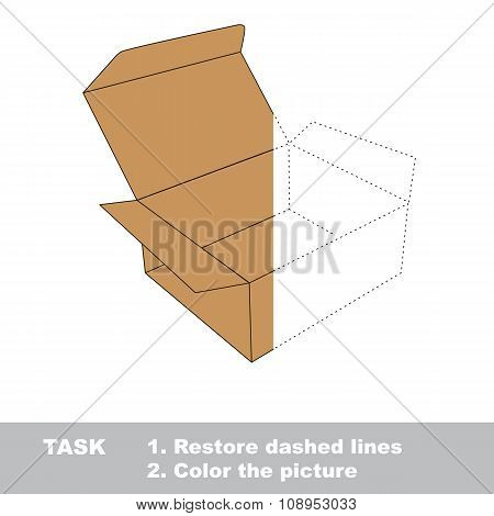 Vector trace game. Brown opened empty box to be colored.