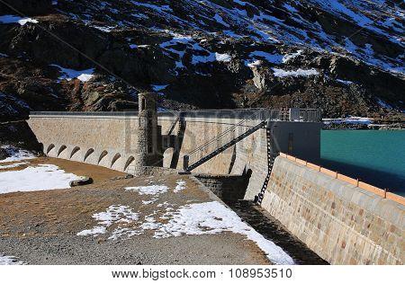 Beautiful Old Dam Of Lake Blanc, Bernina Pass