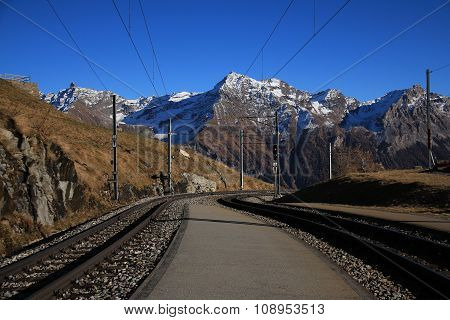 View From Alp Grum, Curved Track Of The Bernina Railway