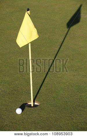 White Golf Ball Near Hole Flag On A Field