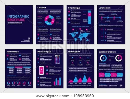 Purple business A4 brochures with infographic elements.
