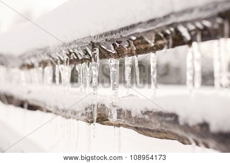 Icicles on a Fence