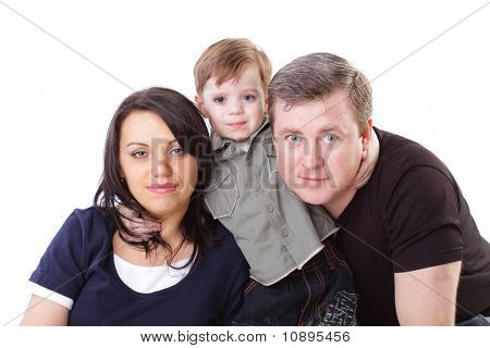 Family. Father, Mother And Boy. Isolated On White Background