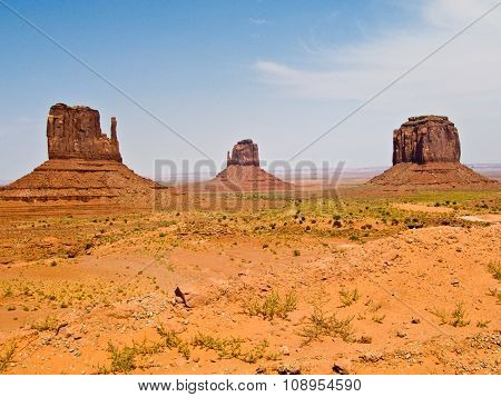 Mittens And Merric Butte  Are Giant Sandstone Formation In The Monument Valley
